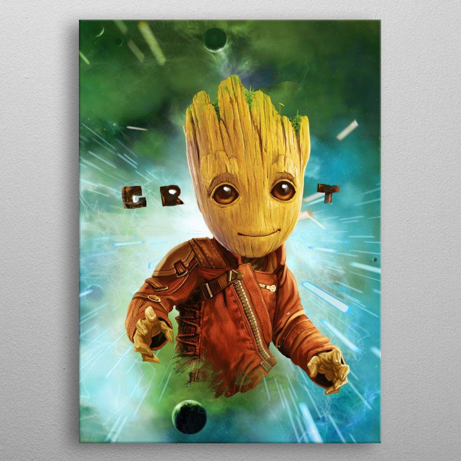 Marvel Metal Poster GOTG2 Baby Groot 10 x 14 cm
