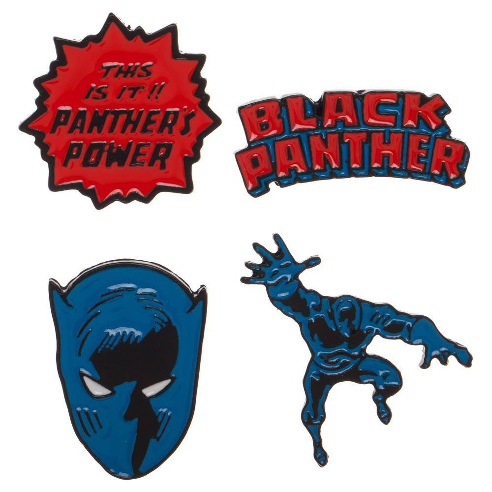 Black Panther Enamel Label Pin Set 4-Pack