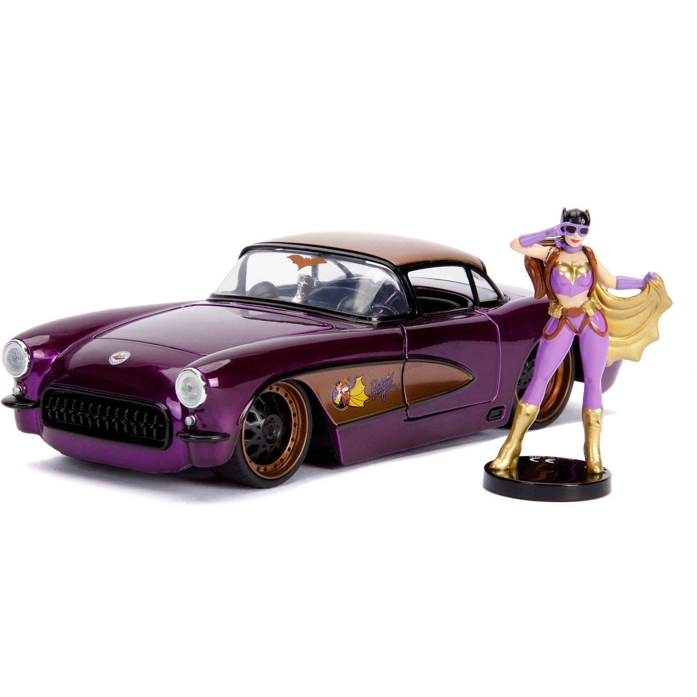 DC Bombshells Diecast Model Hollywood Rides 1/24 1957 Chevy Corvette with Batgirl Figure