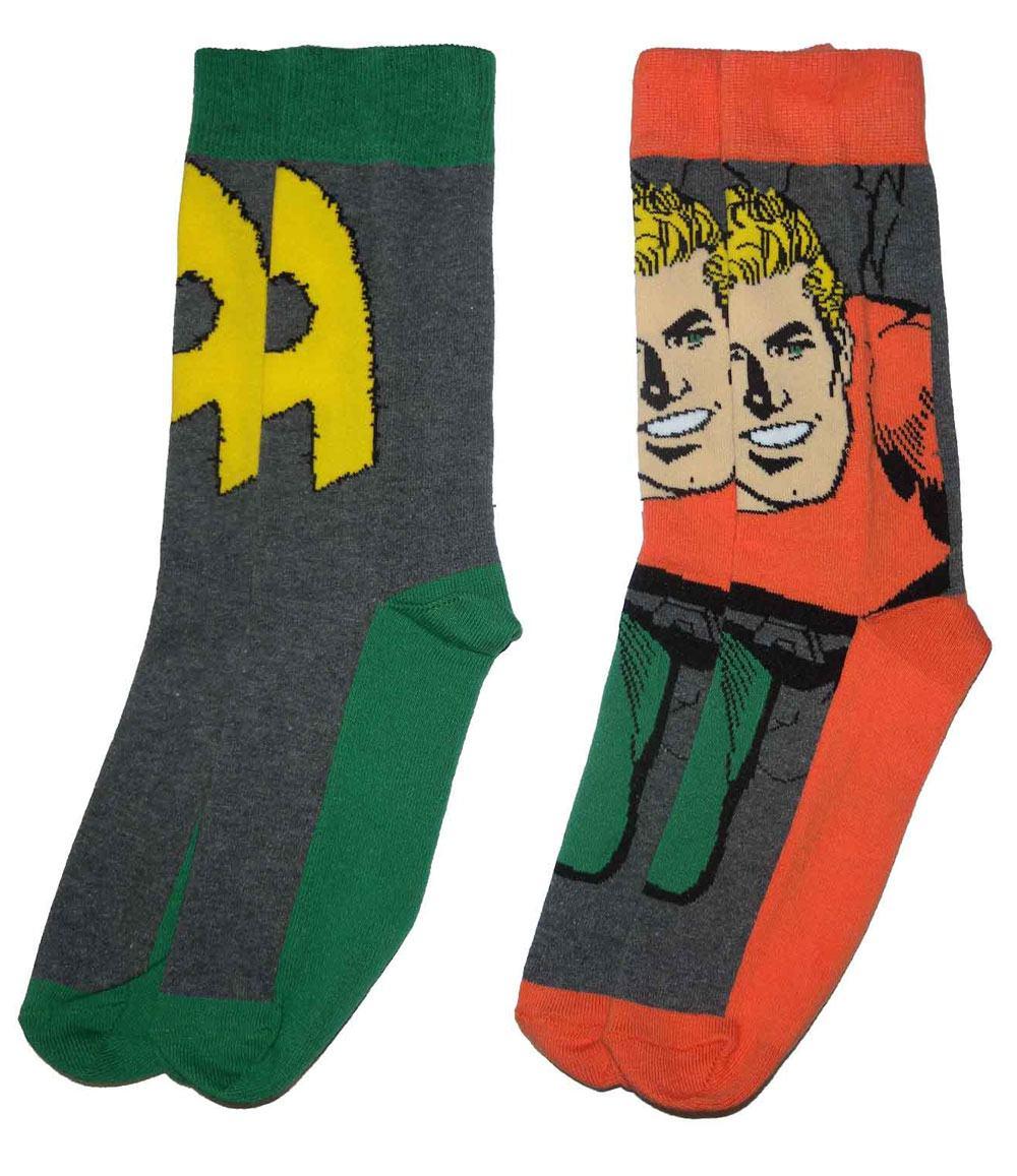 DC Comics Mens Socks 2-Pack Aquaman