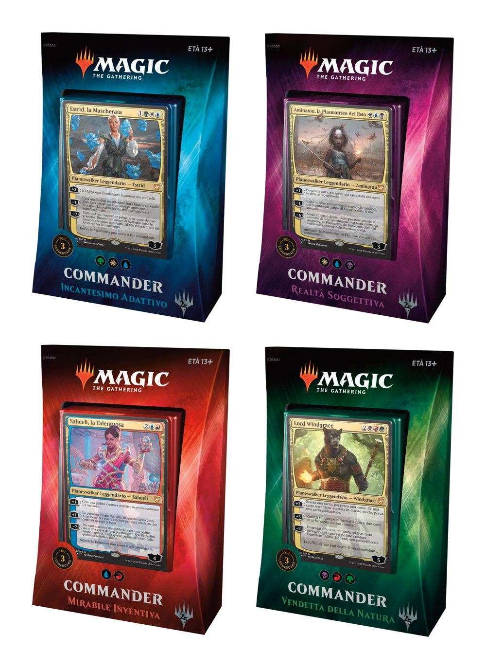 Magic the Gathering Commander 2018 Decks Display (4) italian
