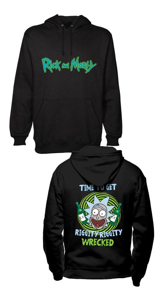 Rick and Morty Hooded Sweater Riggity Riggity Wrecked Size XL