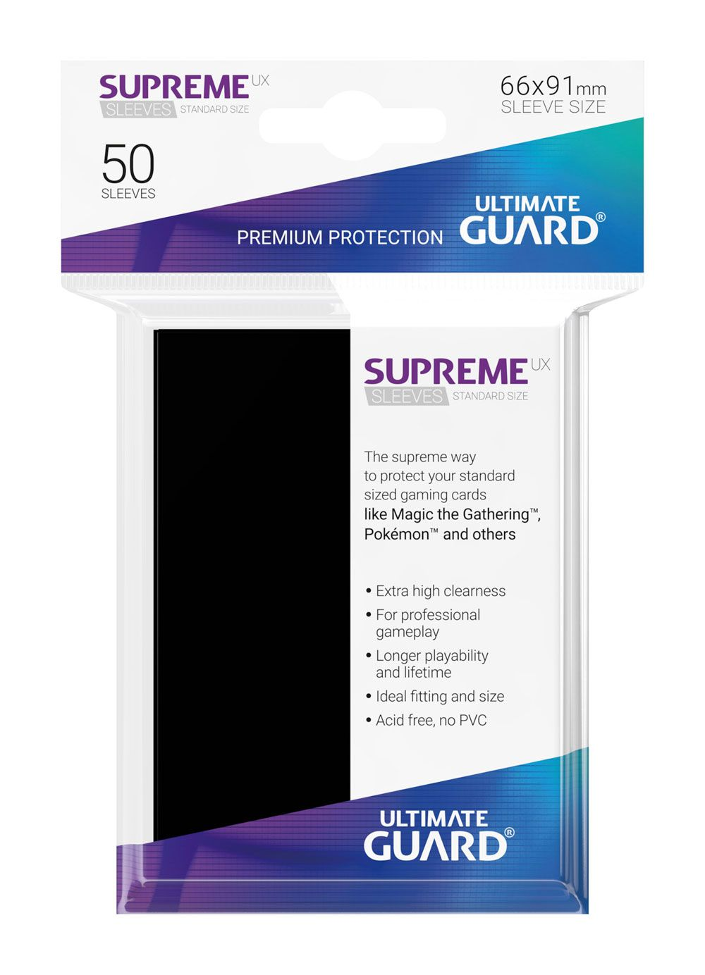 Ultimate Guard Supreme UX Sleeves Standard Size Black (50)