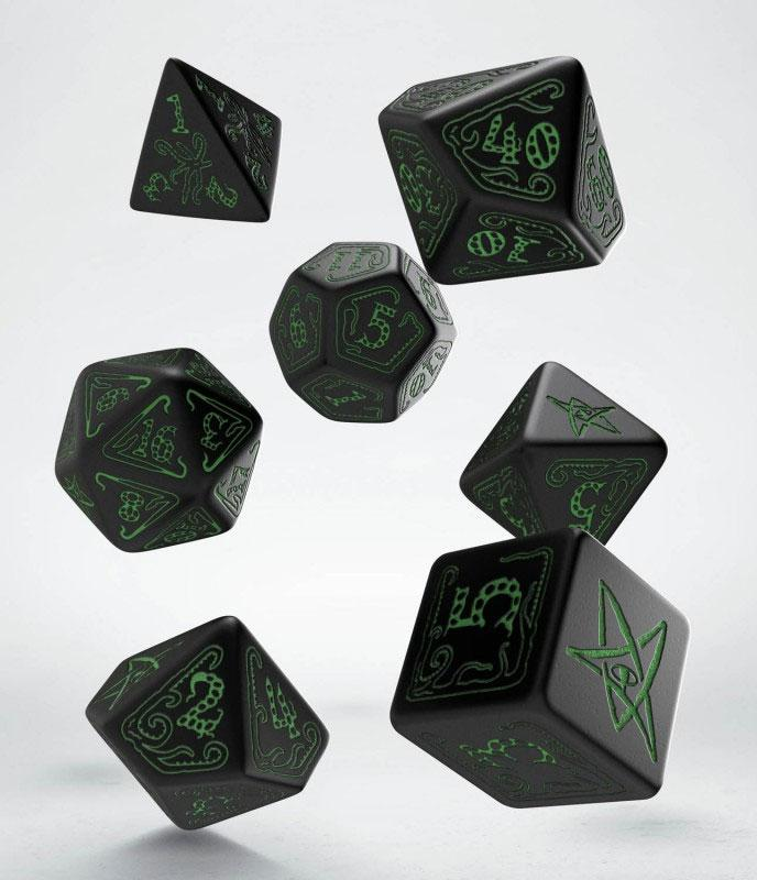 Call of Cthulhu Dice Set black & green (7)