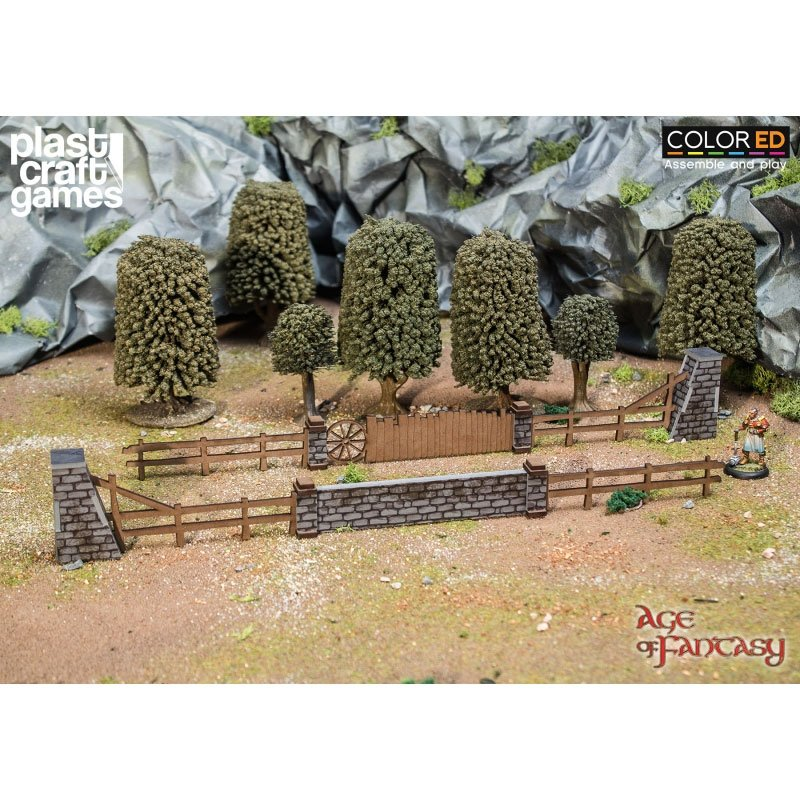 Age of Fantasy ColorED Miniature Gaming Model Kit 28 mm Old Shire Fences
