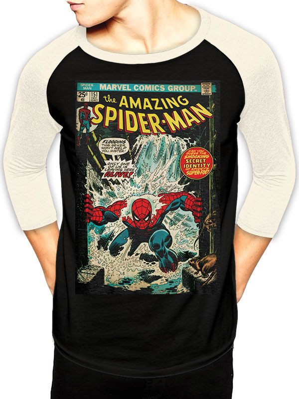 Marvel Comics Baseball Long Sleeve Shirt Spider-Man Comic Size S