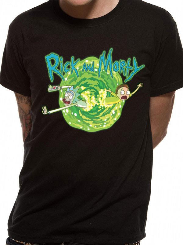 Rick and Morty T-Shirt Black Portal Size XL