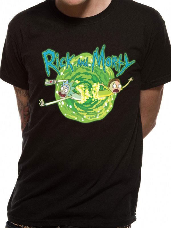 Rick and Morty T-Shirt Black Portal Size M