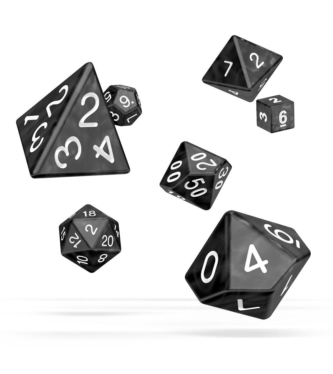 Oakie Doakie Dice RPG Set Marble - Black (12)