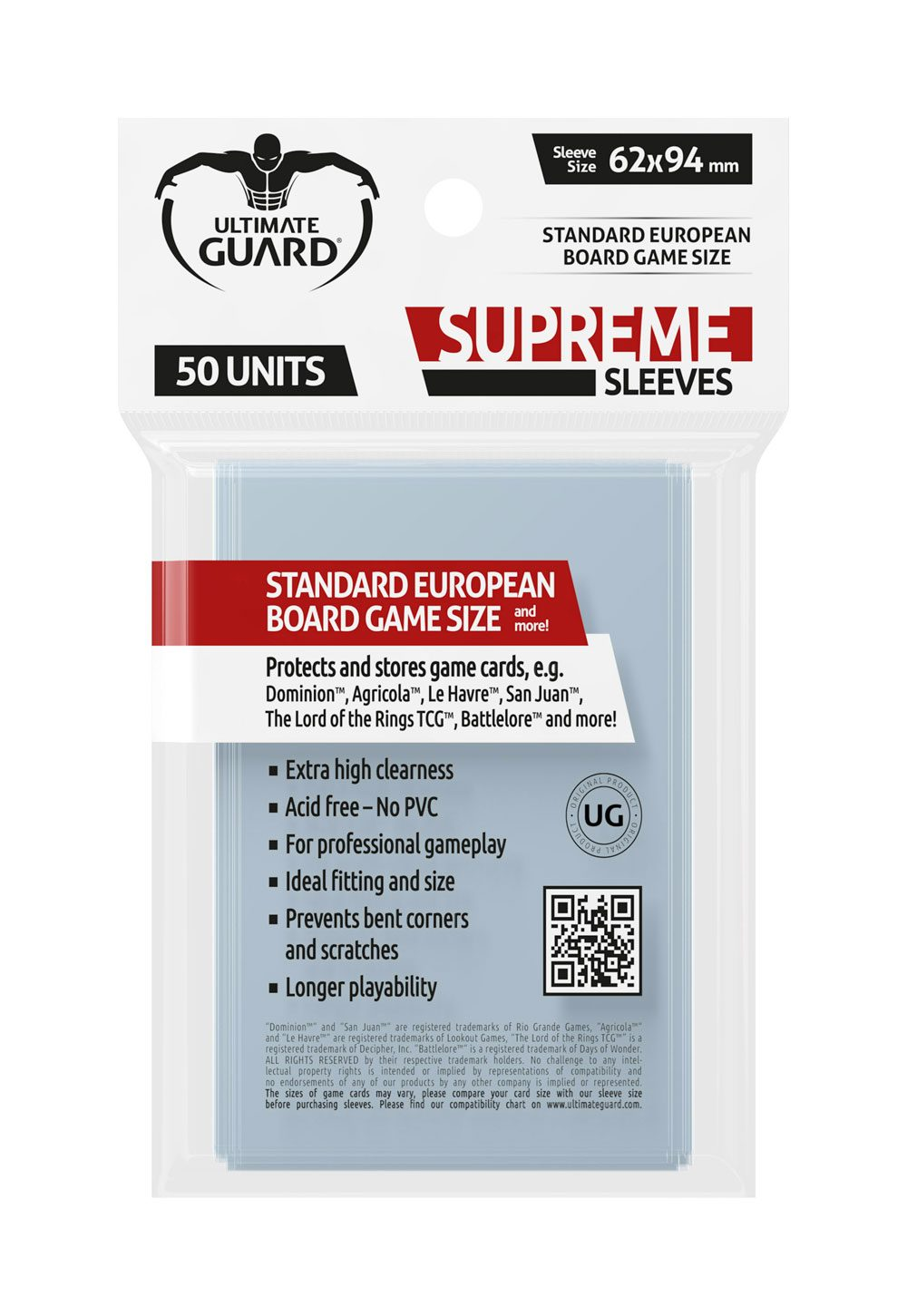 Ultimate Guard Supreme Sleeves for Board Game Cards Standard European (50)