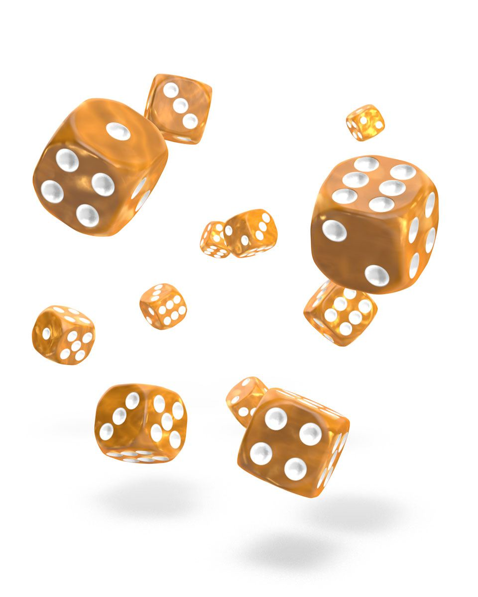Oakie Doakie Dice D6 Dice 12 mm Marble - Orange (36)