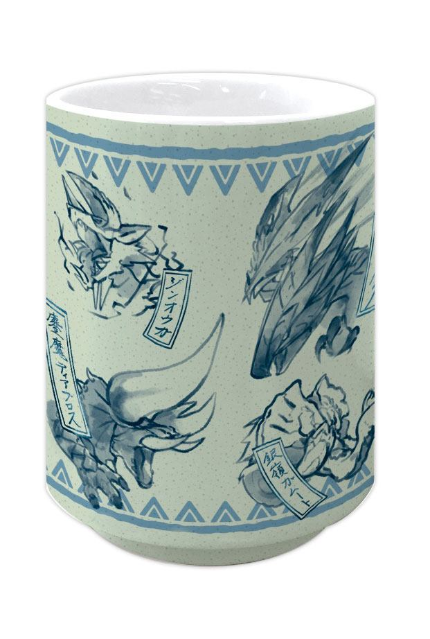Monster Hunter Double Cross Japanese Tea Cup Yunomi Japanese Pattern Blue