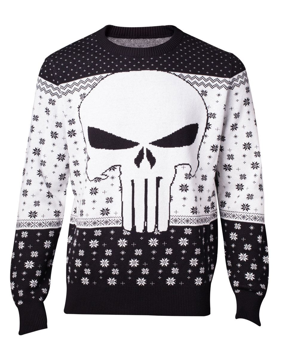 Marvel Knitted Christmas Sweater Punisher Size M