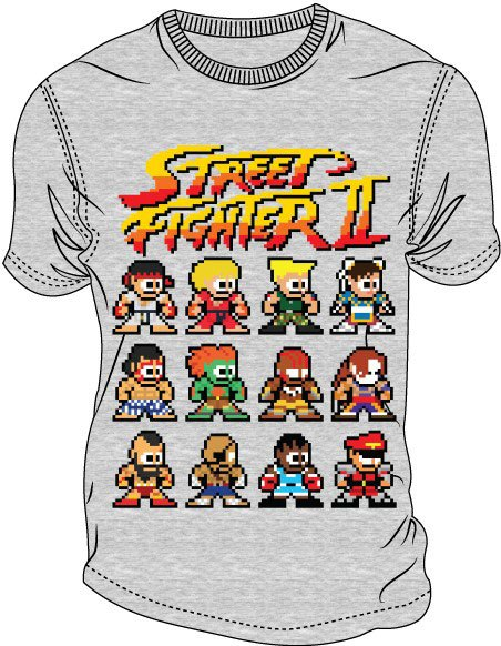 Street Fighter II T-Shirt Pixel Characters Size S