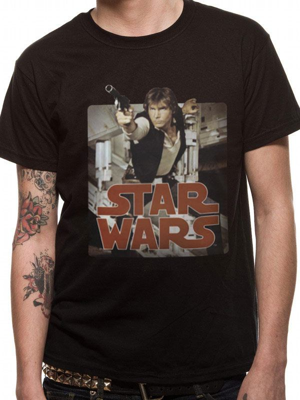 Star Wars T-Shirt Han Retro Badge Size S