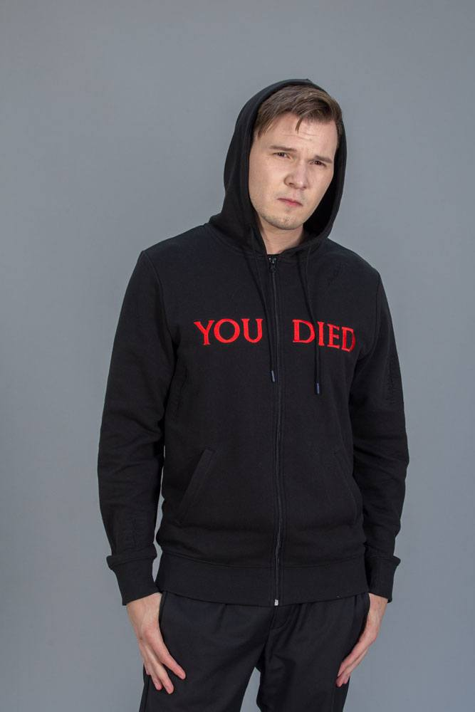 Dark Souls Hooded Sweater YOU DIED Size L
