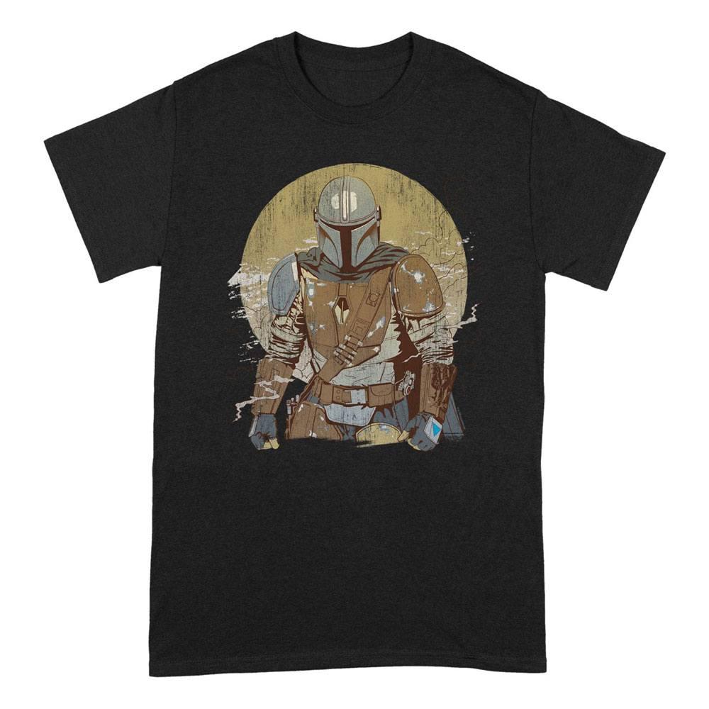 Star Wars The Mandalorian T-Shirt Distressed Warrior Size L