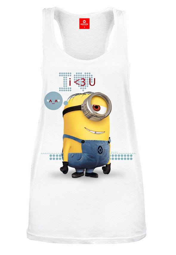 Despicable Me 2 Ladies Tank Top I <3 U Size XL