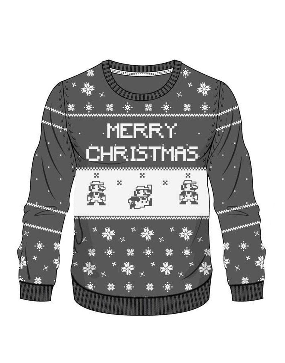 Nintendo Sweater Grey Mario X-mas  Size M