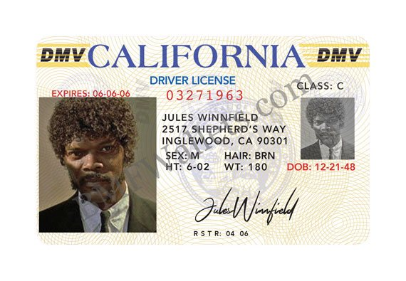 Bad Mother Fucker Driver's license Jules Winnfield