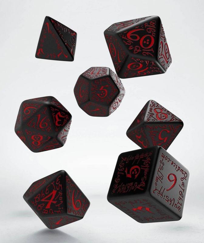 Elvish Dice Set black & red (7)
