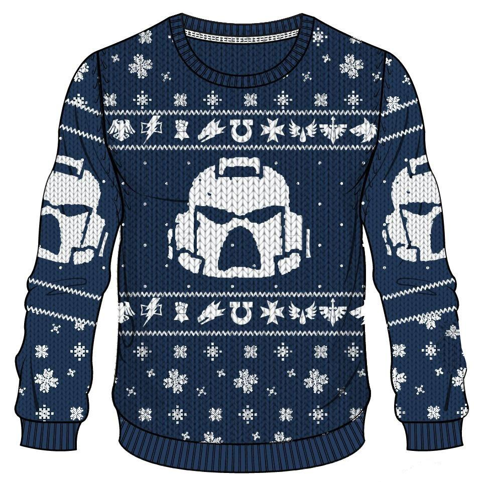 Warhammer 40K Knitted Christmas Sweater Space Marines Size XL