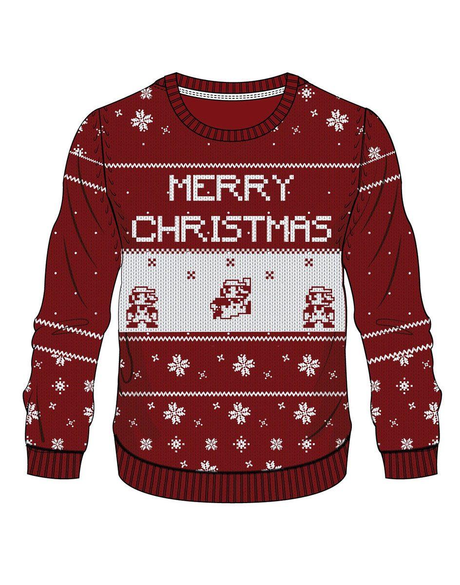 Nintendo Sweater Red Mario X-mas  Size L