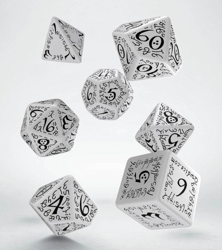 Elvish Dice Set white & black (7)