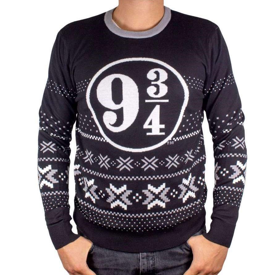 Harry Potter Christmas Sweater Platform 9 3/4 Black Size M