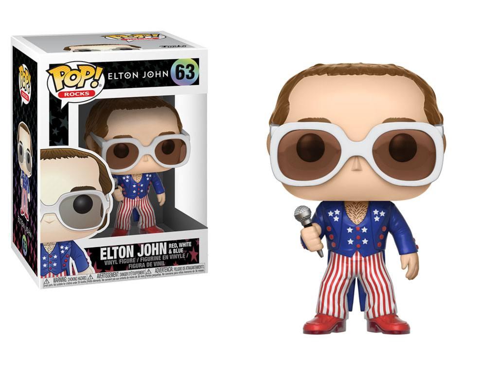 Elton John POP! Rocks Vinyl Figure Elton John Red, White & Blue 9 cm