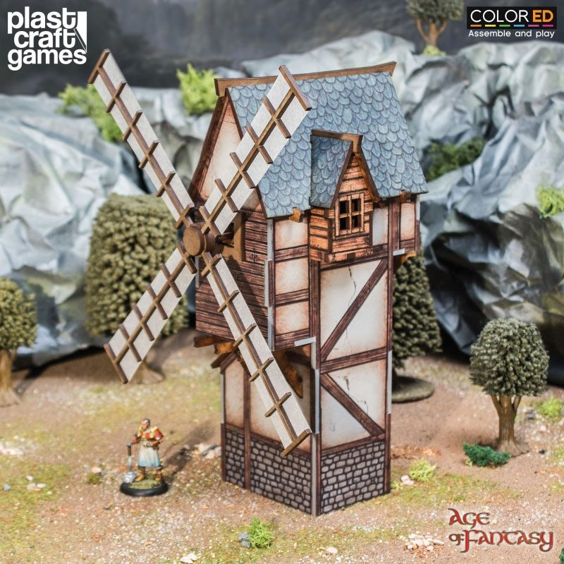 Age of Fantasy ColorED Miniature Gaming Model Kit 28 mm Old Man's Windmill