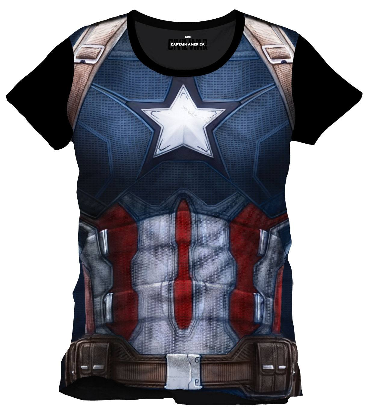 Captain America Civil War Sublimation T-Shirt Cap Chest Size S