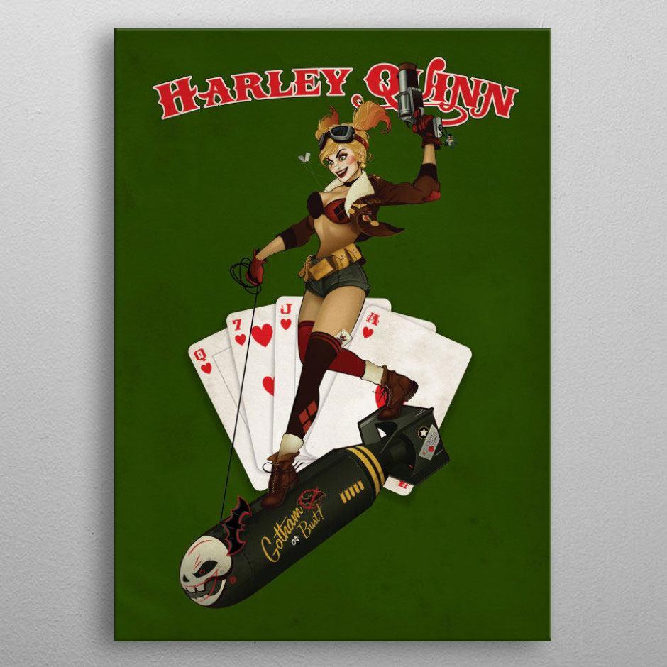 DC Comics Metal Poster Bombshells Harley Quinn 10 x 14 cm