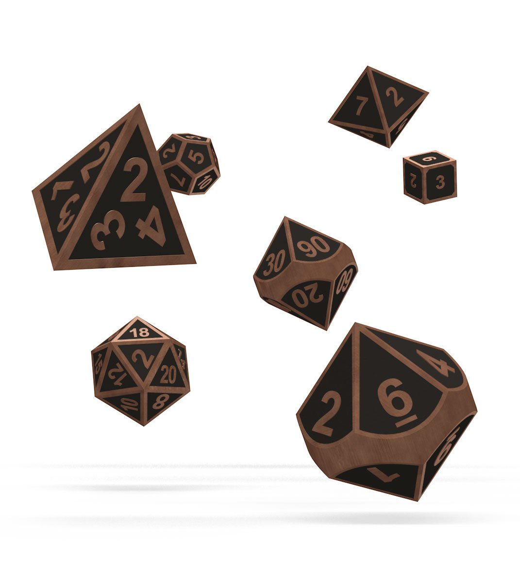 Oakie Doakie Dice RPG Set Metal Dice - Steampunk (7)