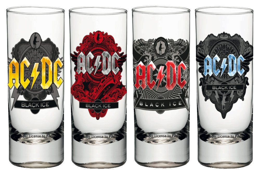AC/DC Shotglass 4-Pack Black Ice