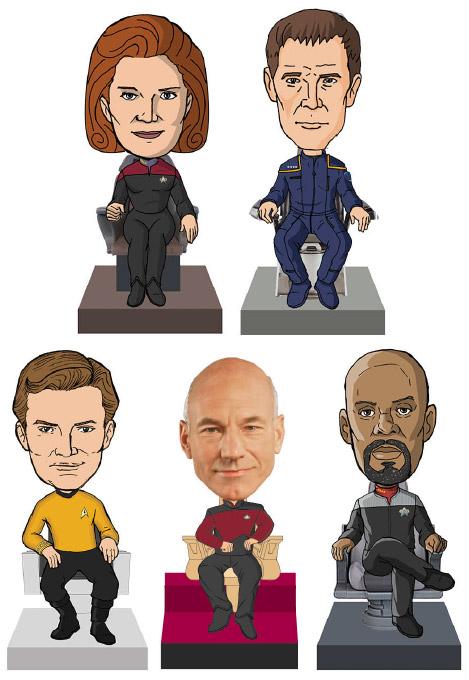 Star Trek Monitor Mate Bobble-Heads 10 cm Captains Box Set