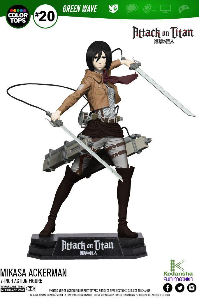 Attack on Titan Color Tops Action Figure Mikasa Ackerman 18 cm
