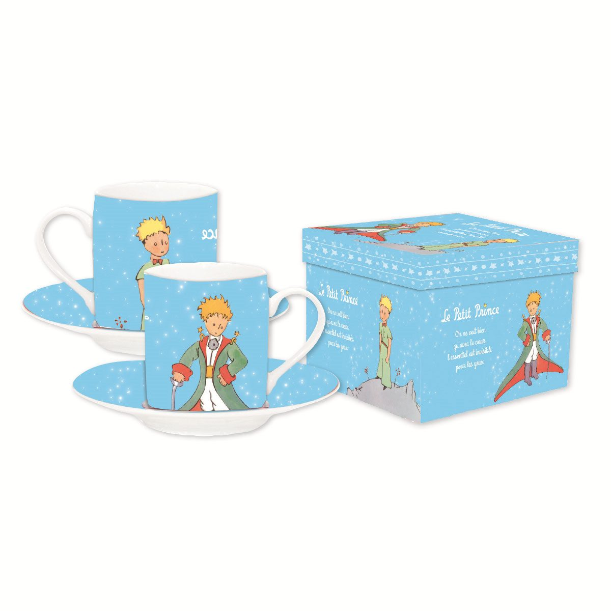 The Little Prince Espresso Mugs Set Light Blue *French Version*