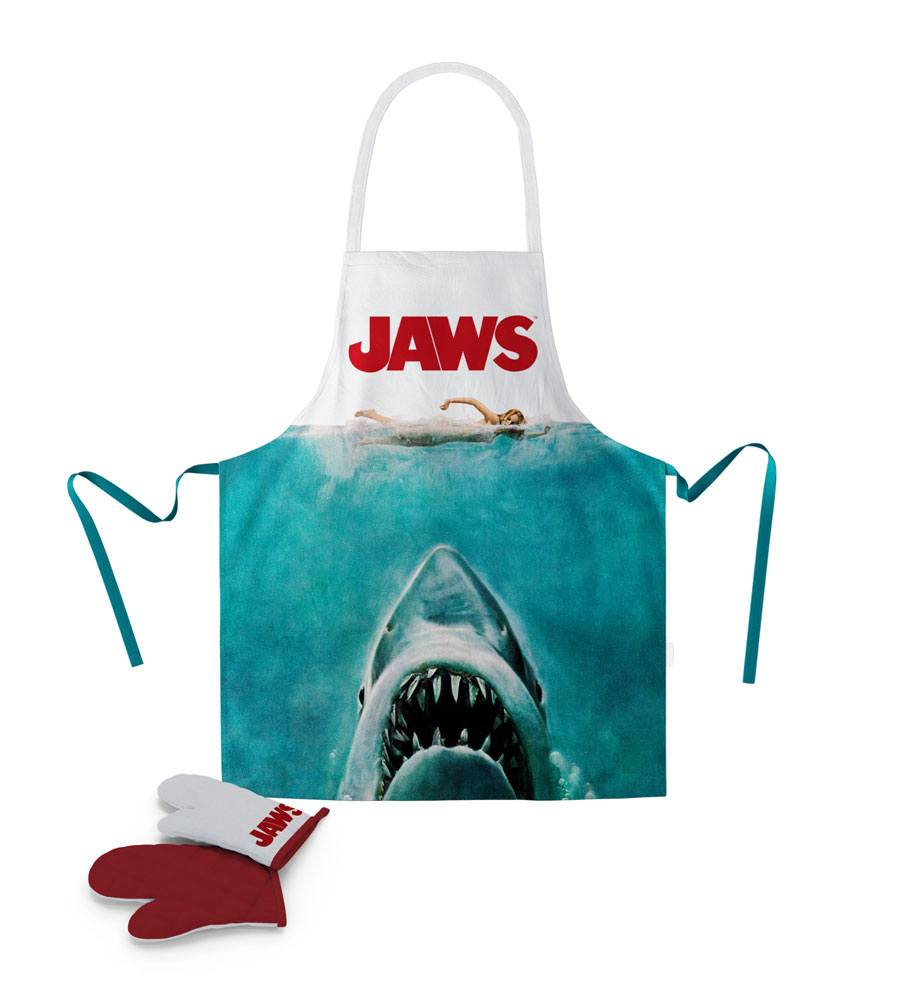 Jaws cooking apron with oven mitt Poster