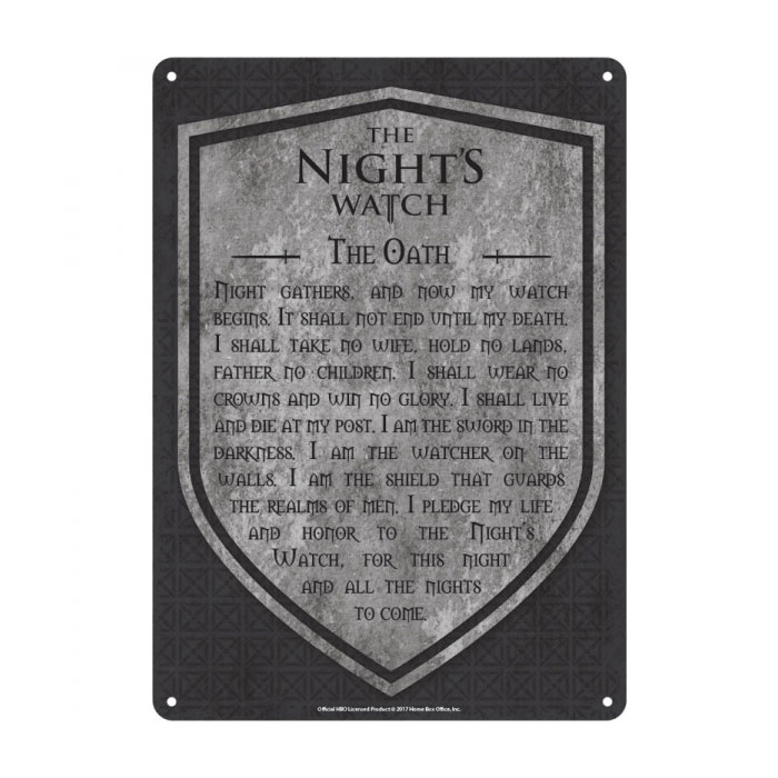 Game of Thrones Tin Sign Nights Watch 21 x 15 cm