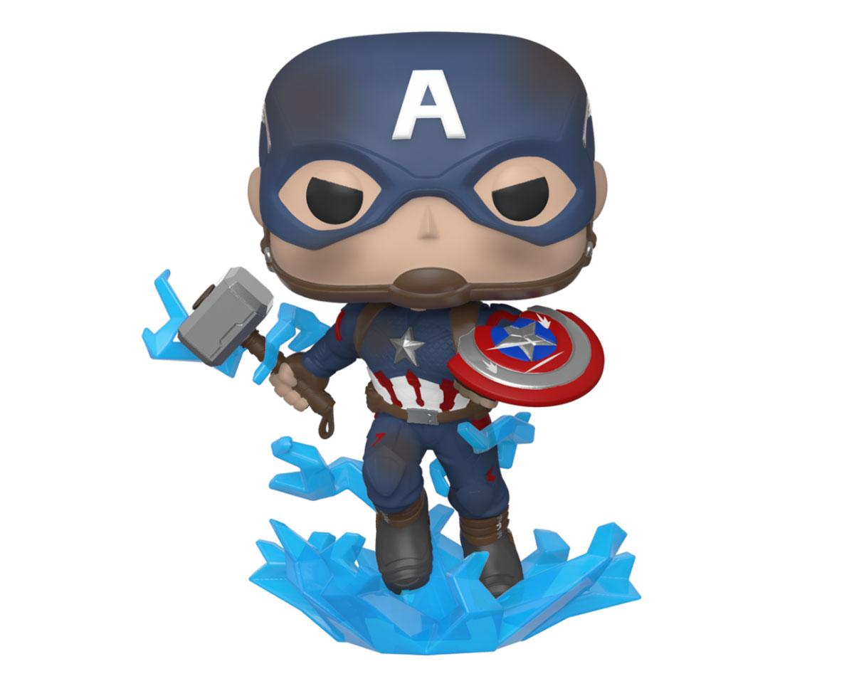 Avengers: Endgame POP! Movies Vinyl Figure Captain America w/Broken Shield & Mjölnir 9 cm