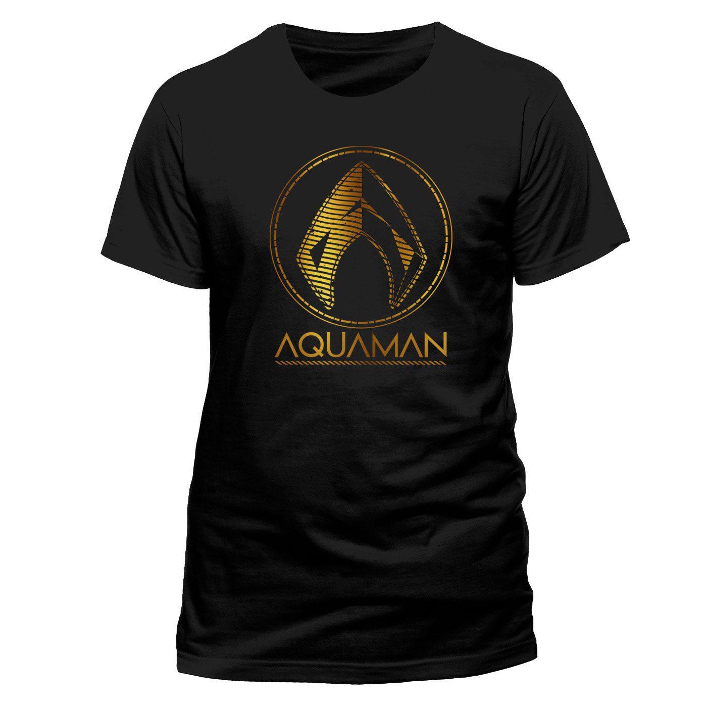 Aquaman Movie T-Shirt Metallic Symbol Size L