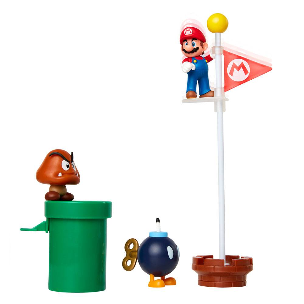 World of Nintendo Super Mario Diorama Set Acorn Plains --- DAMAGED PACKAGING