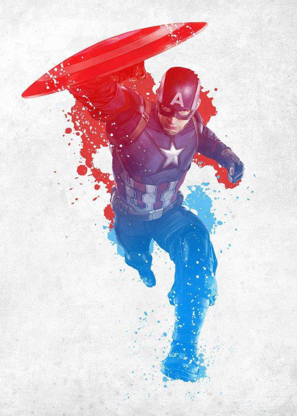 Marvel Comics Metal Poster Civil War Red White and Blue Cap America 10 x 14 cm