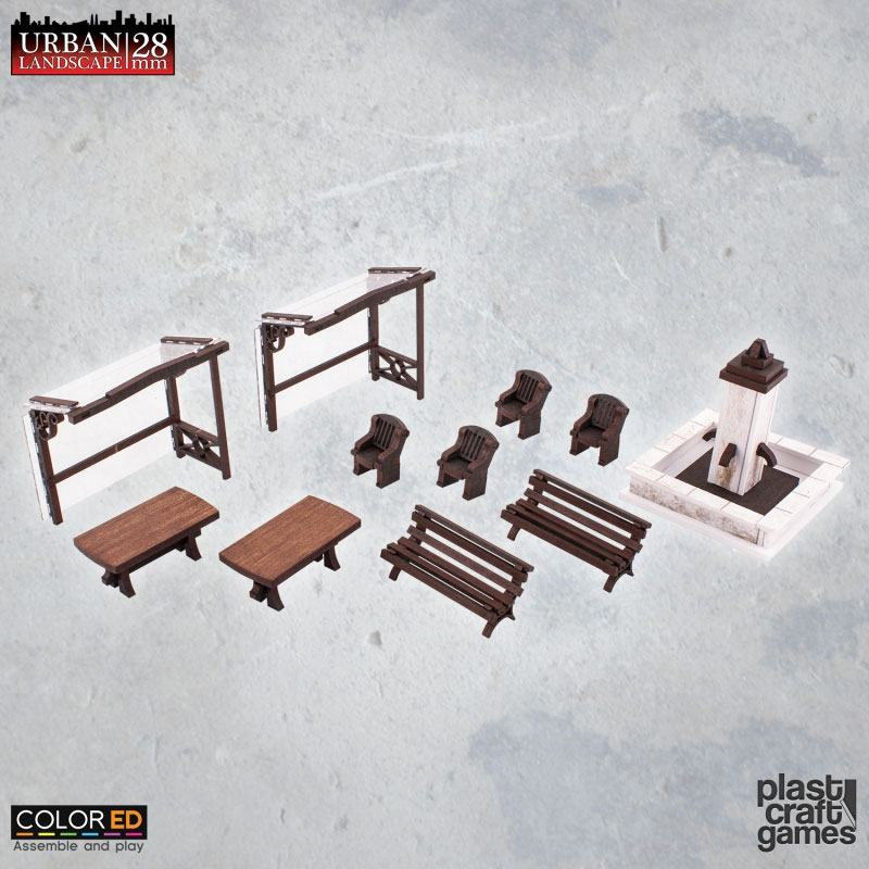 Urban Landscape ColorED Miniature Gaming Model Kit 28 mm Urban Furniture