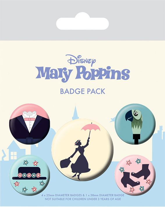 Mary Poppins Pin Badges 5-Pack