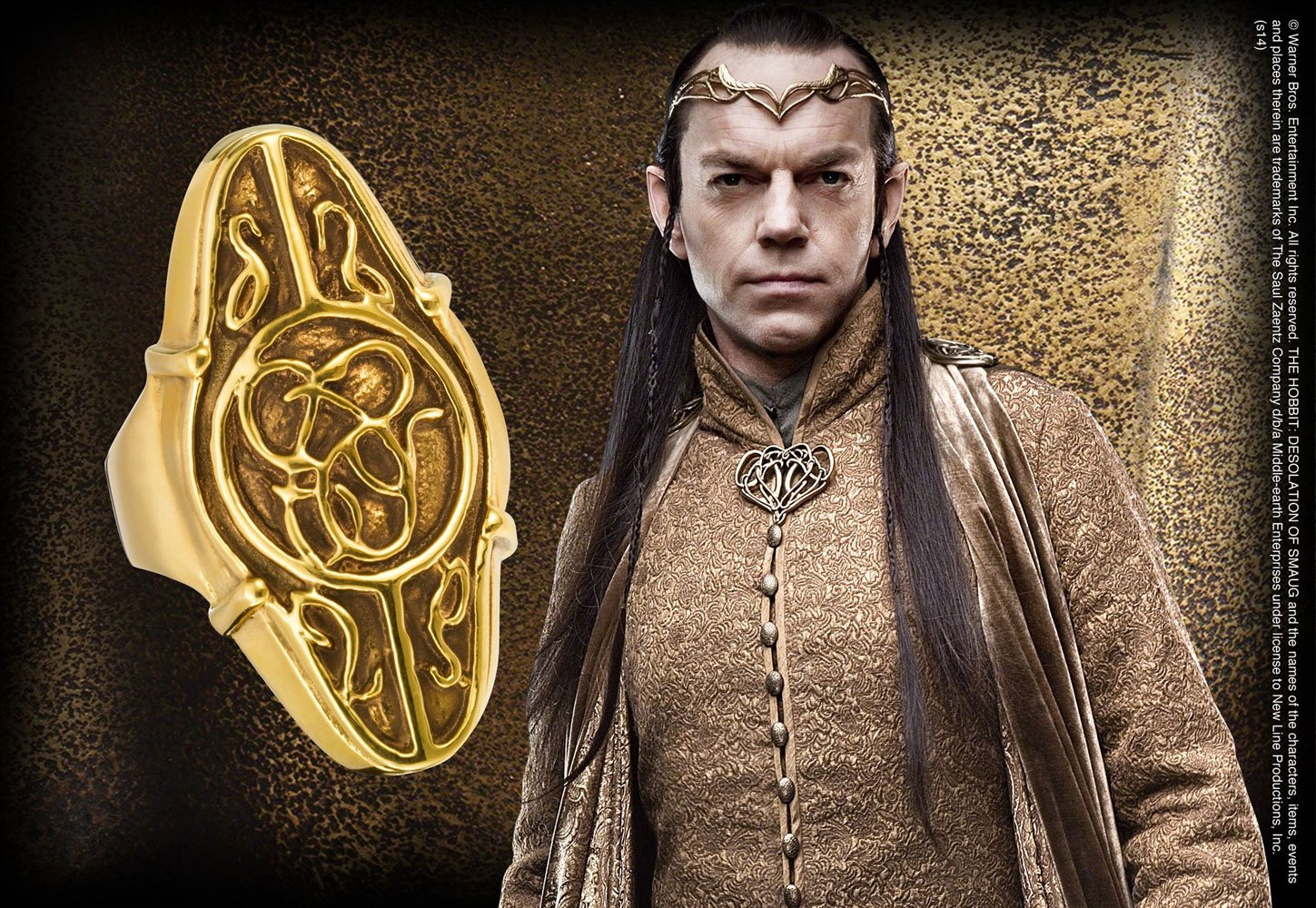 The Hobbit An Unexpected Journey Elrond´s Ring (Sterling Silver, Gold Plated) Size 10