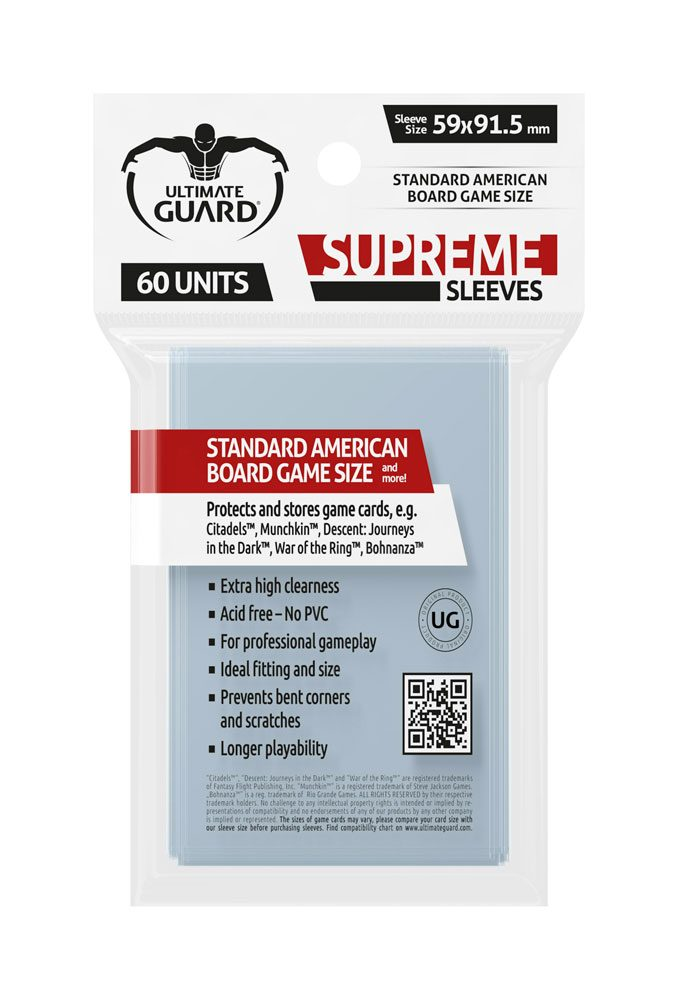 Ultimate Guard Supreme Sleeves for Board Game Cards Standard American (60)