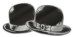 Laurel and Hardy Metal Pin Bowler Hats