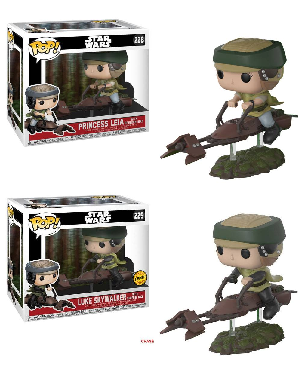 Star Wars POP! Movies Figures Leia / Luke with Speeder Bike 10 cm Assortment (3)